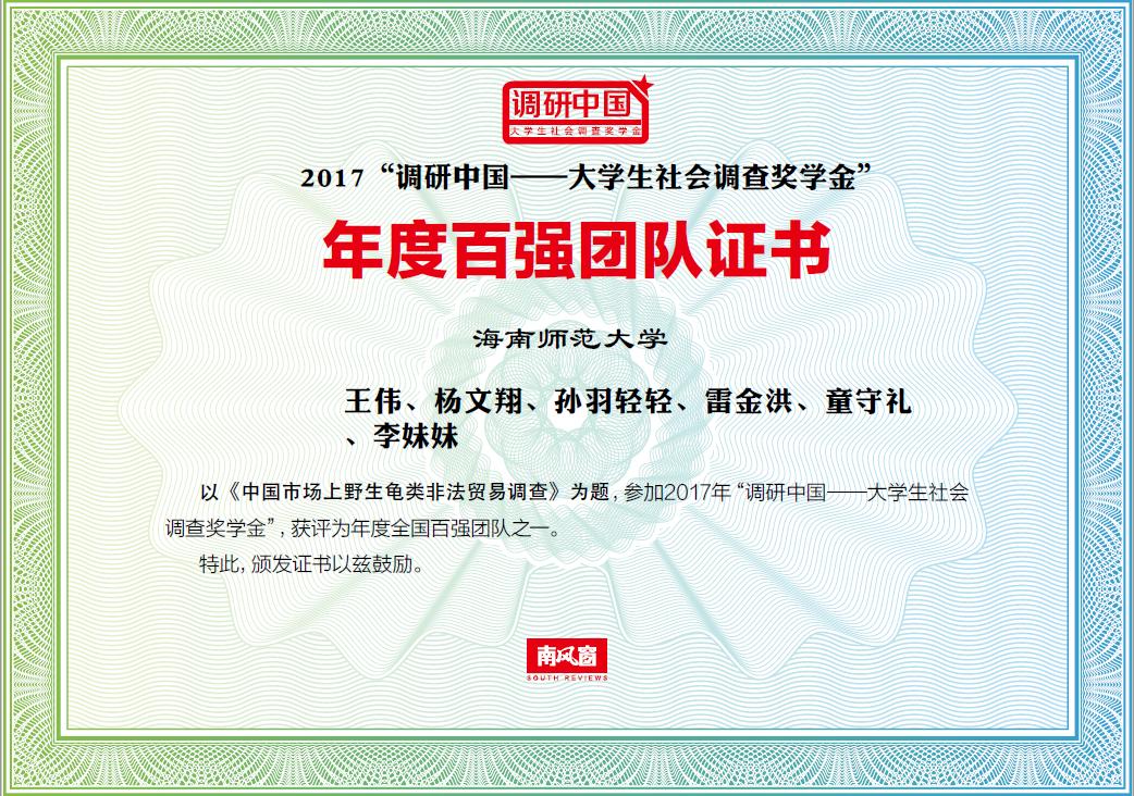 """我校暑期社会实践队获得2017年度""""全国百强团队"""""""