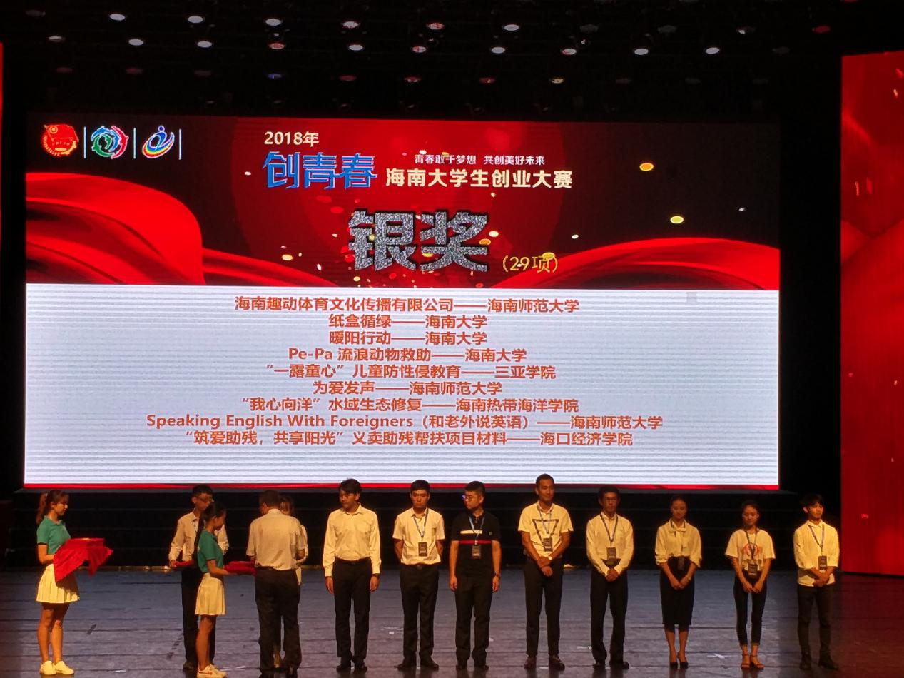 青春敢于梦想,未来在于创新――2018年创青春海南大学生创业大赛