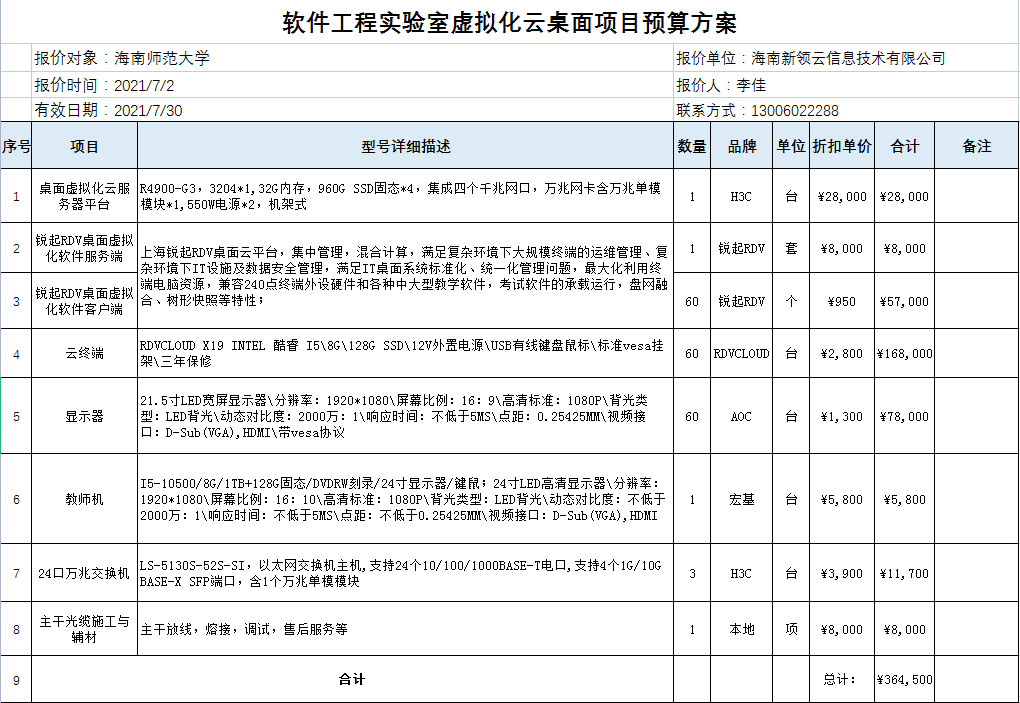 信息学院软件工程实验室虚拟化云桌面项目购置申请公示